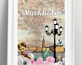 My Stockholm. Mixed media fine art print. Size A3