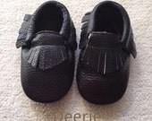 Sale Black Baby Moccasins Ready to Ship- Choose your size