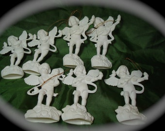 Vintage White Angel with Musical Instruments Christmas Ornaments.