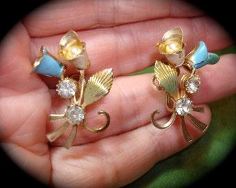Blue Rhinestone Flower Earrings.