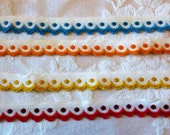 Vintage Dotted Swiss Trim with Scalloped edge ~ Narrow Trim / Ribbon~ Red, Orange, Yellow, Turquoise ~1 YARD ~1/2 in wide~ Baby or Dolls