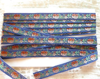 Antique Blue French Trim~Woven Ribbon~Gradient Color~Embroidered~ Rose Pink Roses ~1930's French Trim ~Doll, Baby Ribbon ~ 1 yard ~ 3/8 inch
