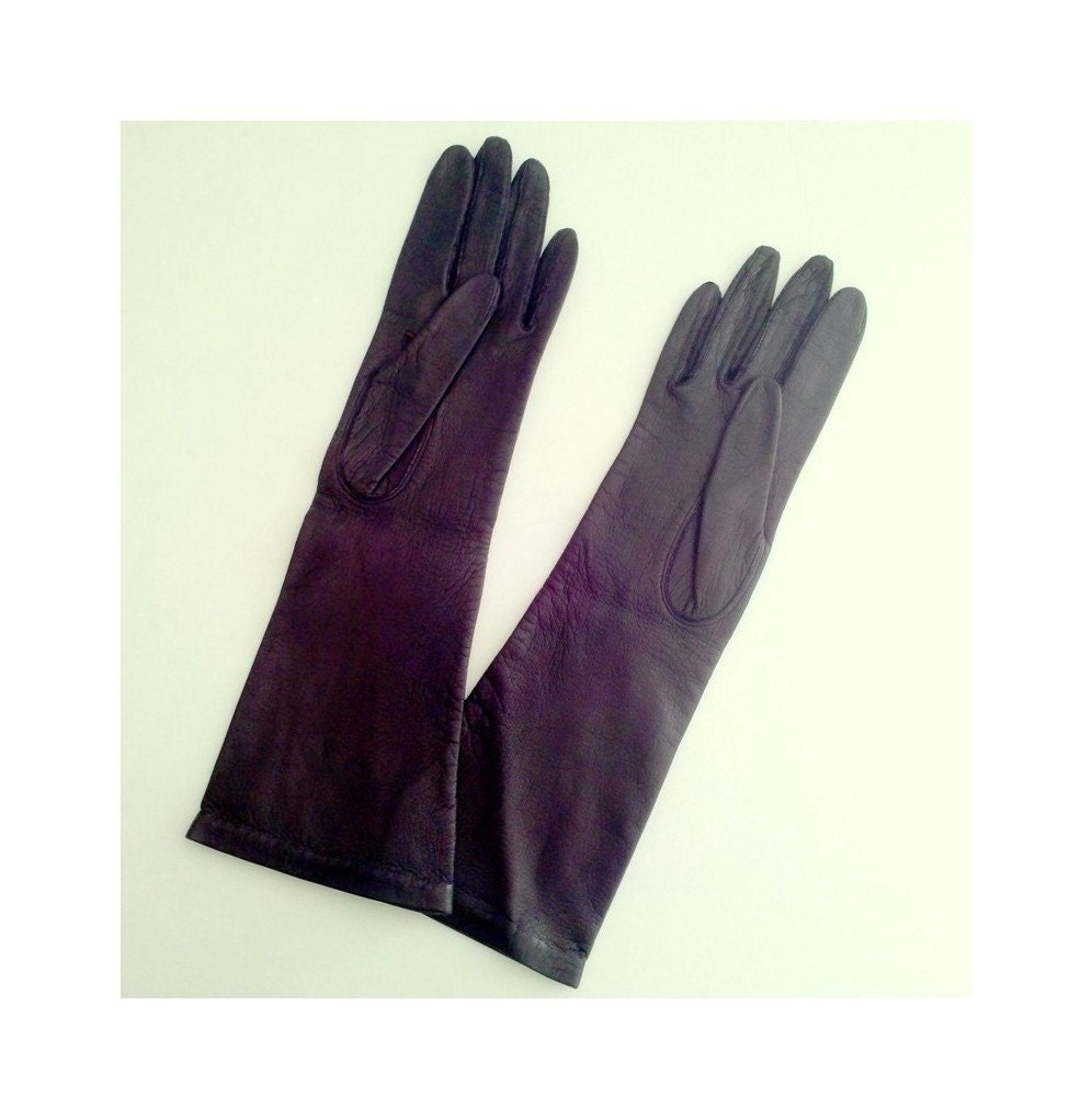 Xs black leather gloves - Long Black Italian Leather Gloves Silk Faced Grandoe Made In Italy Size Xs 6 5