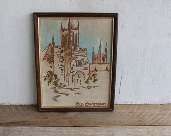 Vintage Crosstitch Framed Artwork, Old Canterbury, England