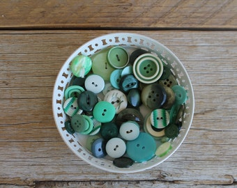 Vintage Button Collection- Greens