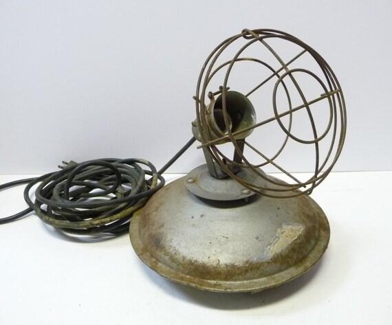 vintage industrial lamp task safety cage light base w. Black Bedroom Furniture Sets. Home Design Ideas