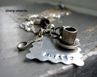 STIMULATION - miniature cup & saucer, petite spoon charm and silver metalwork stamped  tag, chain NECKLACE
