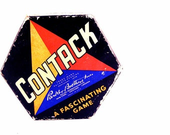 Vintage Contack Game Parker Brothers Colorful Chipboard Ephemera