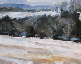 Winter scene, Winter landscape, Snow, Tennessee, Plein Air, Trees in Winter, Hill of Tennessee, Original oil by Carol DeMumbrum