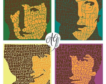"""Psychedelic Beatles Hand-illustrated Type 24"""" x 24'' Canvas Wrap"""