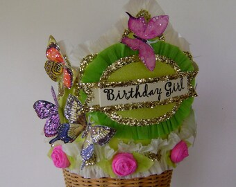 Butterfly Birthday hat - butterfly Birthday Crown, garden party hat, Birthday Girl or customize - Adult or Child