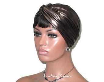 Dark Bronze Turban, Leather Look Turban, Women's Turban, Fashion Turban, Faux Leather Turban, Twist Turban, Metallic Turban, Brown Turban