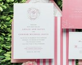 INVITATION SAMPLE English Preppy Chic - Pink and Green Monogram - Prepl Wedding Invitation Sample Set - Flat Printed - by Sincerely, Jackie