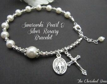 Swarovski Pearl and Silver Rosary Bracelet