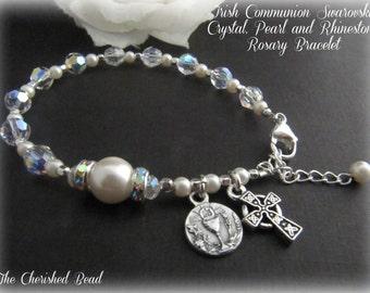 Irish Communion Swarovski Crystal, Rhinestones and Pearl Rosary Bracelet
