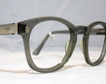 Vintage EyeGlasses Frames Mens Horn Rim Gray Safety Glasses