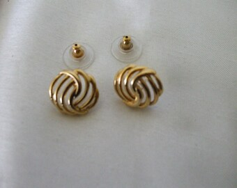 Monet Gold Tone  Earrings, Intertwined Design -  Button Style - Pierced -  Signed - Gifts #357