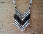 Vintage 1930s Czech glass chevron tassel necklace