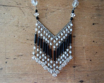 Vintage 1930s Czech glass chevron tassel necklace