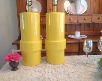 YOU Are MY SUNSHINE Hollywood Regency Tall Yellow Lamps Cylindrical Lamps / Almost 3 Ft Tall / Palm Beach On Sale at Retro Daisy Girl