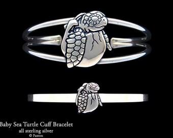 Baby Sea Turtle Bracelet Sterling Silver Baby Sea Turtle Cuff Bracelet Handmade