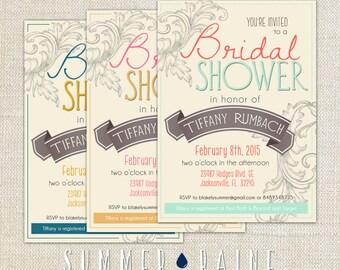 Custom Color Printable Floral Bridal Shower Invitation
