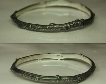 BEAUTY of NATURE. Twig bangle with adorable well made details. 5 mm wide solid sterling silver. Professionally cast from real brunch.