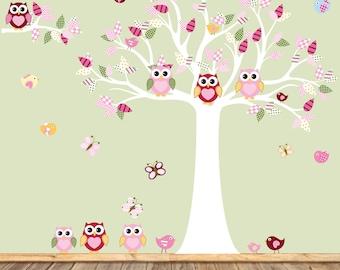 Baby Girl Wall Decal, Nursery Wall Decal with Owls, Birds, Baby Wall Decal,Children Wall Decal