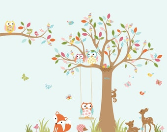 Vinyl Wall Decal  Vinyl Nursery Wall Decal Forest Tree with owls,birds,bears,squirrels,deer girl nursery decal