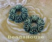LAST:610-00-CA  2pcs  Tye- Die Exquisite Round Rose Bouquet Cabochon,Blue