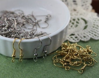50pcs - 20mm Golden Plated  Silver Plated, Earring hook