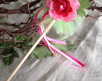 Enchanting Pink Tea Rose Flower Fairy Wand