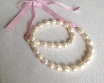 Large Preppy Baroque Pearl and Grosgrain Ribbon Necklace
