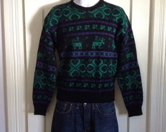 Vintage 1990's Reindeer Snowflake Wool Sweater Mens size Small Animal Alps New England