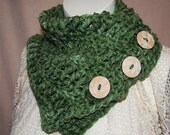 Green Cowl Scarf, Wood buttons, Leaves, Neck Warmer, Thick Scarf, Chunky Scarf, Wrap scarf, Boston Harbor style