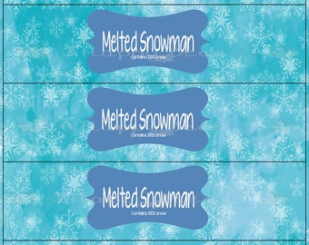 Melted Snowman Printable Water Bottle Label