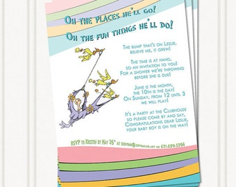 Oh the Places You'll Go - Dr. Seuss  Baby Shower Invitation