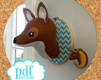 Fox head pattern. Faux taxidermy sewing pdf. Woodland creature. Embroidery hoop art. Animal trophy head Wall mount. Felt Fox. Easy beginners