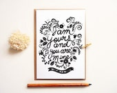 Wedding Day Card. Groom to Bride Card. Bride-Groom Card. I am Yours Wedding Card. Anniversary Card. LC278