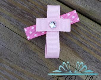 Cross Ribbon Sculpture Hair Clip, Easter Cross Hair Clip