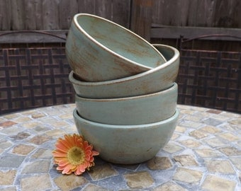 Yogurt Bowls, Small Bowls, Set of Four Ceramic Bowls in Pistachio Green