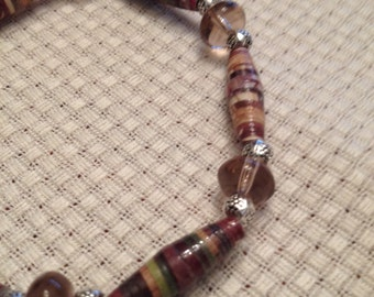 Brown earth tones,Rolled recycled paper bead bracelet JB15007