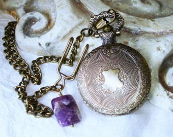 Vintage Look Steampunk Pocket Watch Ornate Shield Design Chevron Amethyst Gemstone Watch Chain and Fob C 3-13