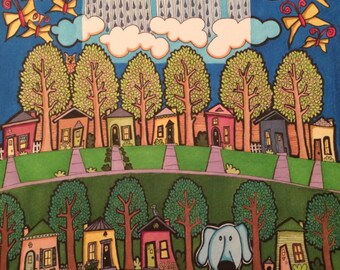 Original landscape with dog, houses, trees, rainy day, butterflies and clouds. A whimsical piece.