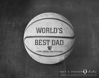 Custom Father Gift, Personalized Gift Birthday Dad, Sports Artwork, Man Cave, Dude Gift, Unique Father's Day Gift, Basketball Photo Print