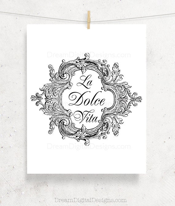 Italian Decor Printable Wall Art, La Dolce Vita Typography Print, Italy Wall Decor, Typographic Print, Instant Download