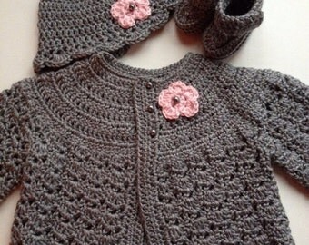 Crochet Baby Sweater Hat Booties Set Heather Grey Newborn