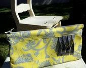 Ready to SHIP! Twisted Accent Fabric Clutch Amy Butler Lark in Glamour Gray Lemon Yellow Zipper