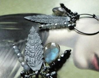 SALE Earrings, Statement Earrings, Gemstone Earrings, Sterling Silver Hoop Earrings, Accessories, Gift for Her, Holiday Earrings