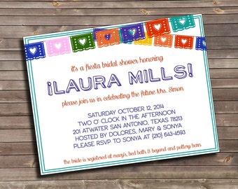 bright fiesta papel picado bridal shower printable invitation